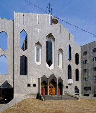 The church of San Francesco d'Assisi al Fopponino in Milan, Italy (cubist architecture)