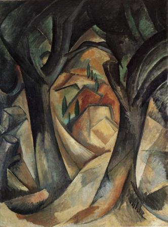 Big trees at Estaque by Braque (cubism)