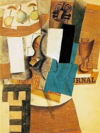 An example of a collage by Picasso, 1912