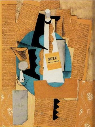 A glass and a bottle of Suze by Picasso,1912 (collage)
