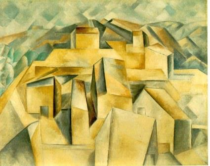 Houses on the Hill Horta de Ebro by Picasso (1909) (analytical cubism)