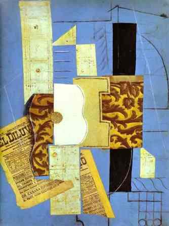 The Guitar By Pablo Picasso (synthetic cubism)
