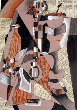 A cubist painting from Picasso's Guitar period (synthetic cubism)
