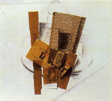 Le Courrier by Georges Braque (1913-1914) (Synthetic Cubism)