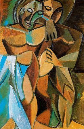 Pablo Picasso - Frienship (1908) (African Period) (Paul Cezanne Cubism)